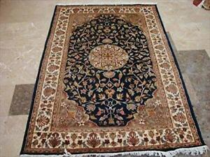 Exclusive Mid Night Blue Medallion Hand Knotted Rectangle Area Rug Wool Silk Carpet (6 x 4)'