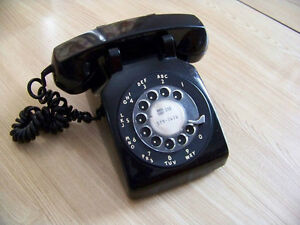1960s Black Rotary Dial Desk Telephone