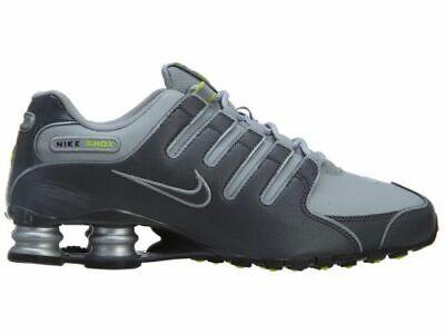 New Nike Men's Shox NZ Leather Shoes (378341-009)  Dark Grey // Wolf Grey-Volt