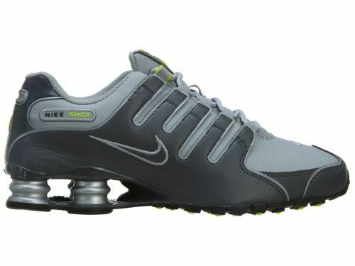 newest c7f5a b4348 New Nike Men's Shox NZ Leather Shoes (378341-009) Dark Grey // Wolf  Grey-Volt