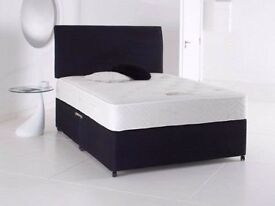 """Special Offer - New Double Divan Base + 9"""" Thick Deep Quilt Mattress - Same Day Delivery -Order Now!"""