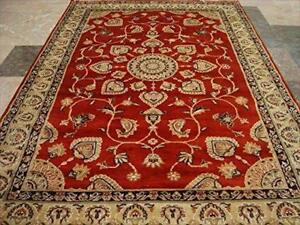 Burnt Orange Rust Ivory Touch Flowers Rare Area Rug Hand Knotted Wool Silk Carpet (6 x 4)'