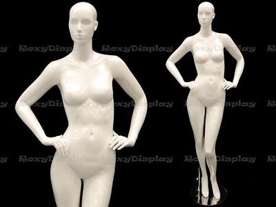 Female Fiberglass Mannequin Glossy White Abstract Fashion Style Mc-anna03