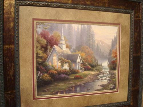 Thomas kinkade forest chapel ebay - Home interiors thomas kinkade prints ...