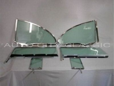 1955 to 1957 Chev 2 Dr Hardtop Glass & Pont Vents Doors Quarters In Frames Green