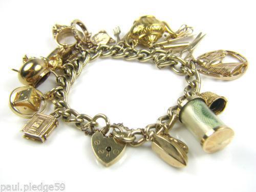 9ct gold charm bracelet ebay