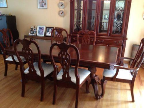Cherry wood dining room set ebay for Cherry dining room set