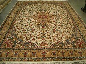 Ivory Pestal Flower All Over Kashan Classic Area Rug Hand Knotted Wool Silk Carpet (12.0 x 9.2)'