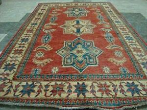 Super Kazak Caucasion Geometric Veg Dyed Mahal Rectangle Rug Hand Knotted Carpet (6.2 x 3.10)'