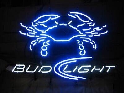 "Bud Light Crab Seafood Open Neon Light Sign 24""x24"" Beer Bar"