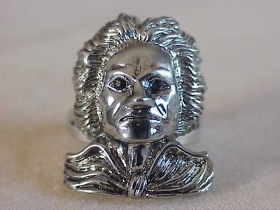 Serious Ludwig Von Beethoven Ring With Crystal Eyes by Lauren Spencer New