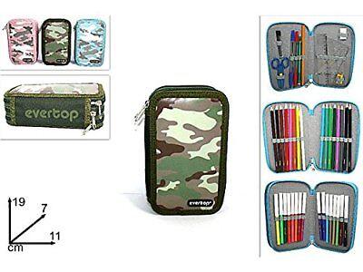 Portapastelli Astuccio Militare 3 Zip Cerniere 43 Pezzi Matite Scuola idea