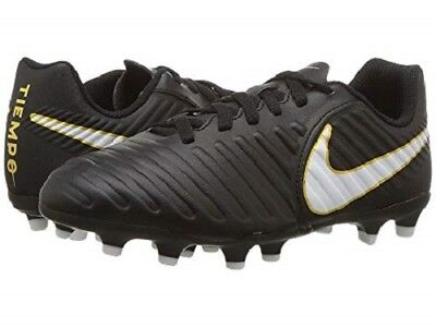 Nike Jr Tiempo Rio IV FG Cleats Youth Firm Ground Soccer New Size 4 Black/White
