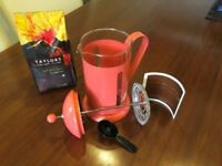 NEW M&S Cafetiere coral pink orange metal coffee maker plunger tea infuser glass. Gift idea.