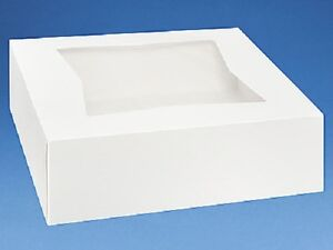 25 count Window Bakery Box 6x6x3 WHITE Cupcake Cookie Favor Candy