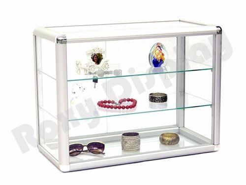Standard aluminum framing Glass Countertop Display Case Stor