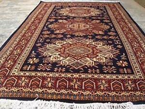 Fine Shirvan Kuba Kazak Blue Veg Dyed Hand Knotted Area Rug Wool Carpet (6 x 4)'