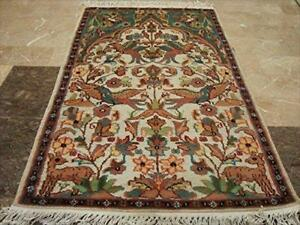 Tree of Life Birds Hand Knotted Wall Rug Wool Silk Carpet (4 x 2.6)'