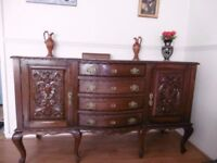 Antique Queen Anne Style Sideboard With 4 Drawers