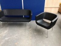 2 SEATER BLACK LEATHER SOFA & ARM CHAIR, SETTEE, OFFICE, WAITING, STAFF ROOM