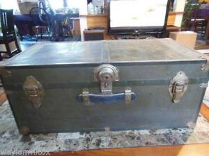 Nice Large Antique Old Fashioned Blue Cabin Trunk Antique Furniture