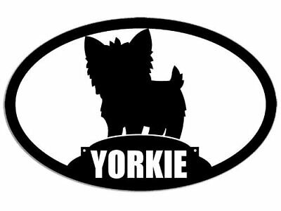 3x5 inch Oval Yorkie Silhouette Dog Breed Sticker (Yorkshire Terrier)