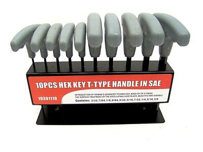 10 pc T Handle Type Hex Key Wrench Set Standard Sizes Allen Wrench SAE set