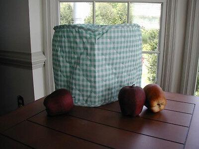 Sage Green Gingham 4 Qt Crockpot Appliance Cover Round, Cotton Blend, no brand