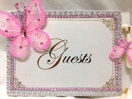 Butterfly Guest Book for Sweet 16 Birthday Wedding Bridal Shower
