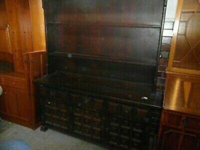 Antique Edwardian Style Dark Oak Welsh Style Large Dresser Unit Collect RG9