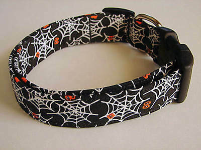 Charming Black W/ Halloween Spider Webs & Orange Eyeballs Dog Collar