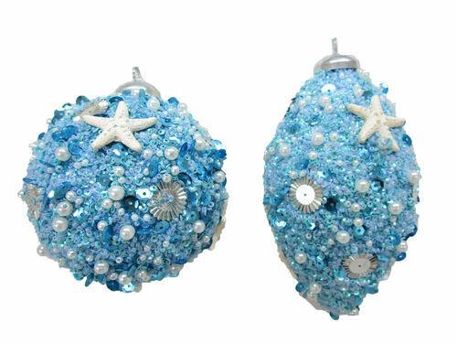 "Seashell Blue Ball Finial Large Glitter Acrylic Coastal Ornament 5-6"" Set 2"