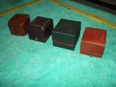 3 alte Schmuckschatullen + 1 / Ringschachteln innen mit Beschriftung