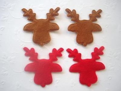 40 Reindeer Head Felt Applique/Christmas/trim/bow/Craft/Holiday/Scrapbooking H14
