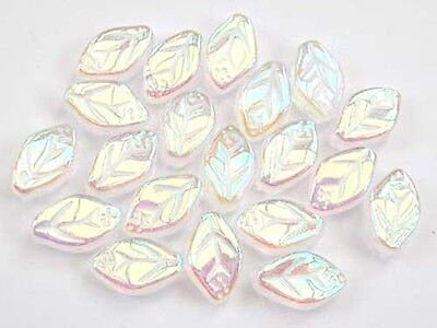 20 CRYSTAL AB Czech glass leaves beads 12x7mm (0003AB)