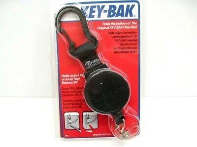 Key-bak Black 6cid Mid Size Mid6 Retractable Cord Id Badge Reel W Carabiner