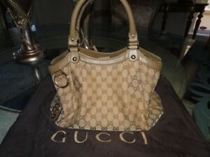 AUTHENTIC GUCCI SUKEY GG MED SIZED TAUPE HANDBAG