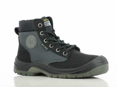 Men Work Boot Safety Jogger Dakar Hi Top Steel Toe Black Leather 100% Original Black Safety Toe Boot