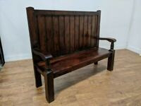 Dark Wood Heavy Duty Hand Made High Back Settle Monks Bench Pew