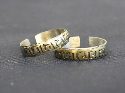Two Adjustable Tibetan Copper Carved Brass Mantra OM MANI PADME HUM Amulet Ring