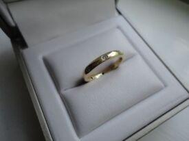 18ct Yellow Gold Diamond Wedding Band Size M