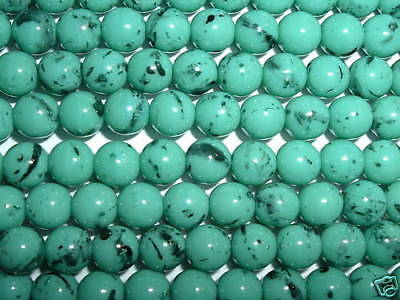 AL624 CZECH 8mm ROUND Glass Beads-TURQUOISE & BLACK (25)