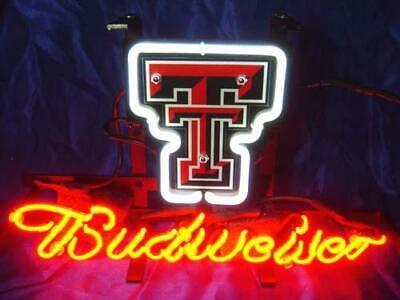TEXAS TECH RED RAIDERS Budweiser Beer Bar Club Pub Store Shop Neon Light Sign