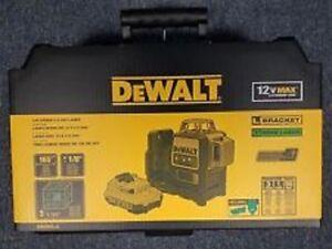 NEW DEWALT DW089LG 12 VOLT LASER LINE LEVEL GREEN BEAM 165' RANGE KIT 2667384