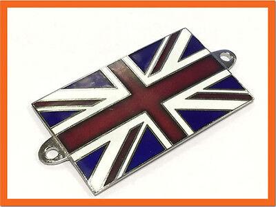 British Union Jack Flag Enamel Kings Crown Classic Car Badge Automobilia Auto Mascot