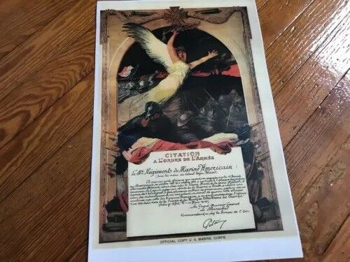 WWI USMC Marine Corps 5th American Regiment Notre Dame French Citation Print