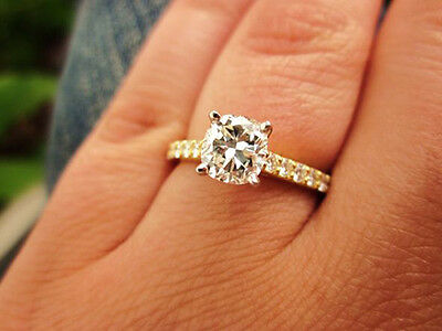 1.80 Ct. Natural Round Cut Pave 14k Yellow Gold Diamond Engagement Ring GIA Cert