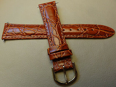 GOLD TONE BUCKLE Timex Brown Padded Croco Grain 18mm Genuine Leather Watch Band -