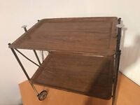 Vintage 70's Chrome Wood Formica Folding Tea Trolley Hostess Drinks Cocktail Bar