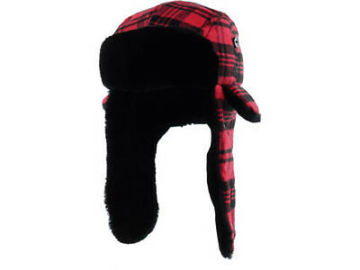 New Era Poptrap Scarlet Red Trapper Buffalo Plaid Dogear Hat Cap Down Ear Flap Plaid Hat Earflap